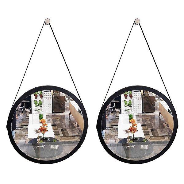 Kit 2 espelhos Adnet Decorativo Redondo de Parede com Alça de Couro Diâmetro 58 cm preto e marrom