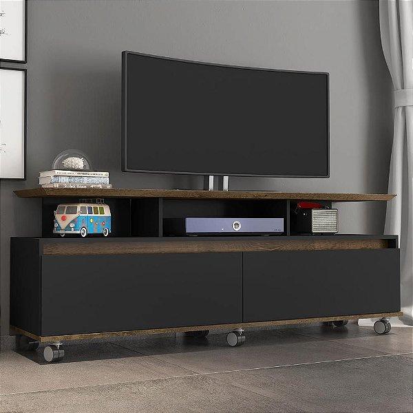 rack para sala tv 60 polegadas 2 portas 3 nichos com rodizios 160 cm altura 65 cm