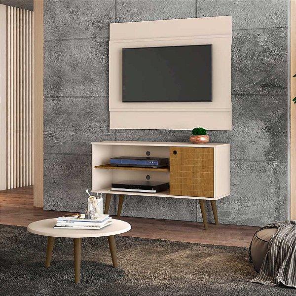 painel rack tv 42 polegadas + mesa de centro para sala 2 nichos pé palito 108 cm altura 65 cm