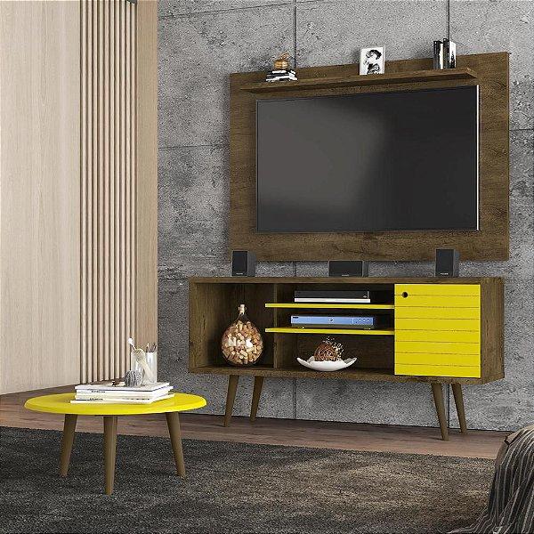 painel rack para tv 50 polegadas com mesinha 4 nichos pé palito 135 cm