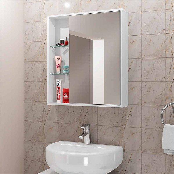 armario de banheiro com porta com 2 prateleira 3 nichos 54 cm altura 62 cm profundidade 12 cm