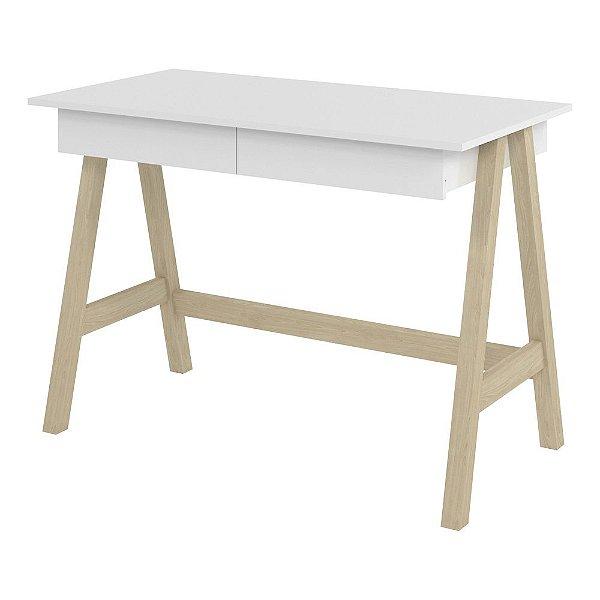 Mesa Escrivaninha Com 2 Gavetas Para Escritório Ou Quarto Mdf Largura 109 Cm