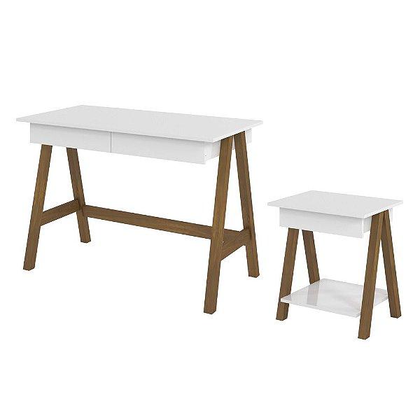 Conjunto Escrivaninha E Mesa Lateral Para Escritório Mdf Pé Cavalete