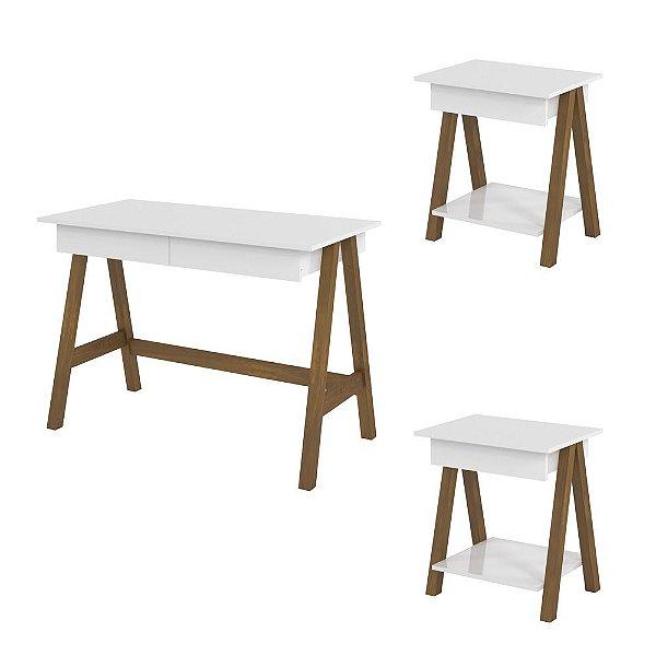 Conjunto Escrivaninha E 2 Mesa Lateral Para Escritório Mdf Pé Cavalete