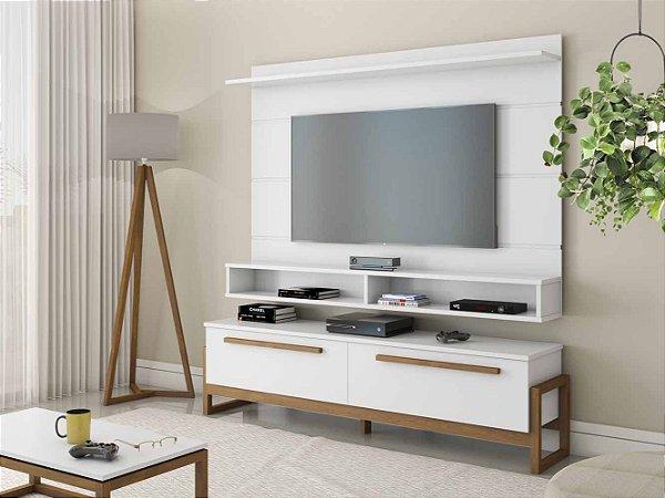 Kit Rack Painel De Tv 60 Polegadas Mesa De Centro E Luminária De Chão 180 Cm