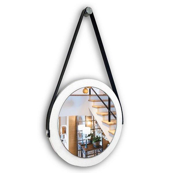 Espelho Adnet 28 cm Várias Cores com Alça de Couro e Espelho de Vidro