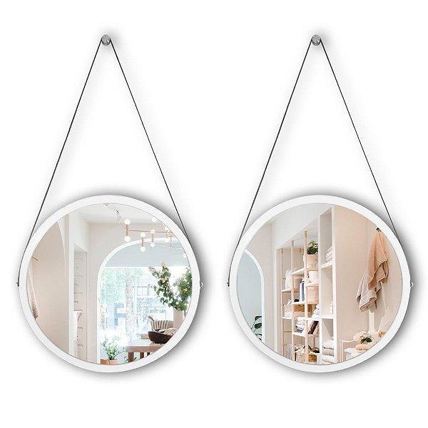 Kit Espelho Adnet 58 & 58 cm Várias Cores com Alça de Couro e Espelho de Vidro