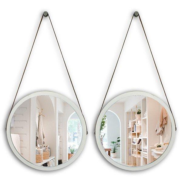 Kit Espelho Adnet 48 & 48 cm Várias Cores com Alça de Couro e Espelho de Vidro