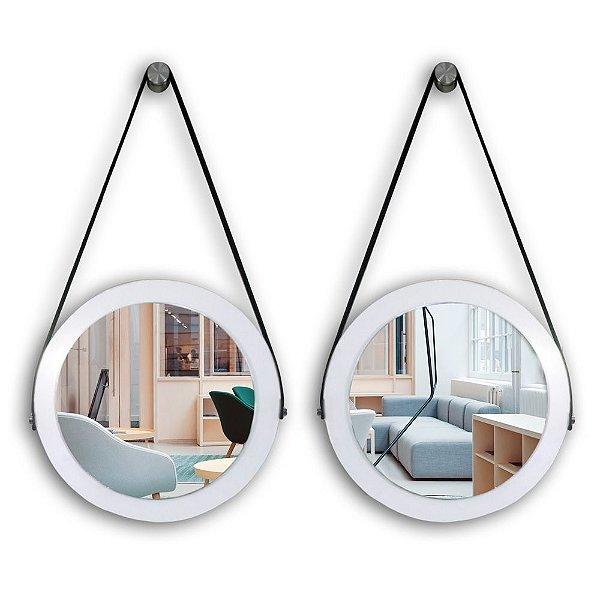 Kit Espelho Adnet 28 & 28 cm Várias Cores com Alça de Couro e Espelho de Vidro