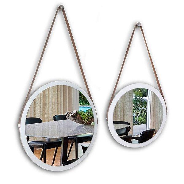 Kit Espelho Adnet 48 & 38 cm Várias Cores com Alça de Couro e Espelho de Vidro