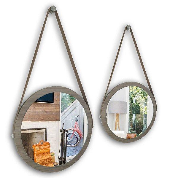 Kit Espelho Adnet 38 & 28 cm Várias Cores com Alça de Couro e Espelho de Vidro