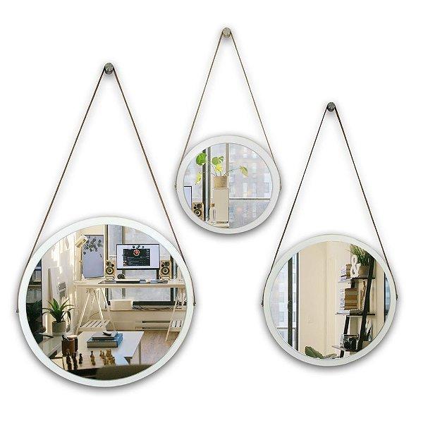 Kit Espelho Adnet 58 & 48 & 38 cm Várias Cores com Alça de Couro e Espelho de Vidro