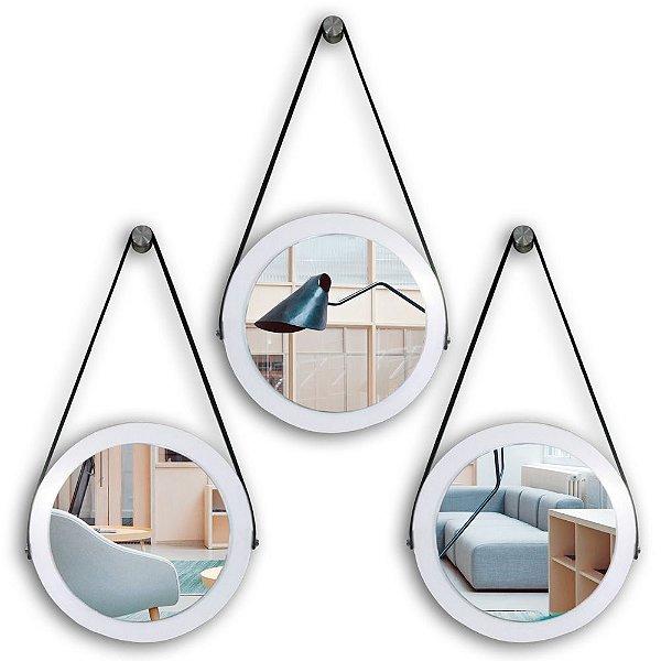 Kit Espelho Adnet 28 & 28 & 28 cm Várias Cores com Alça de Couro e Espelho de Vidro