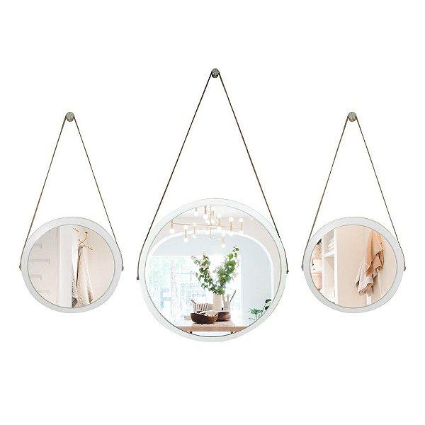 Kit Espelho Adnet 58 & 38 & 38 cm Várias Cores com Alça de Couro e Espelho de Vidro
