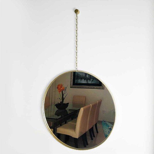 Espelho Dourado Redondo com Corrente e Moldura Metálica