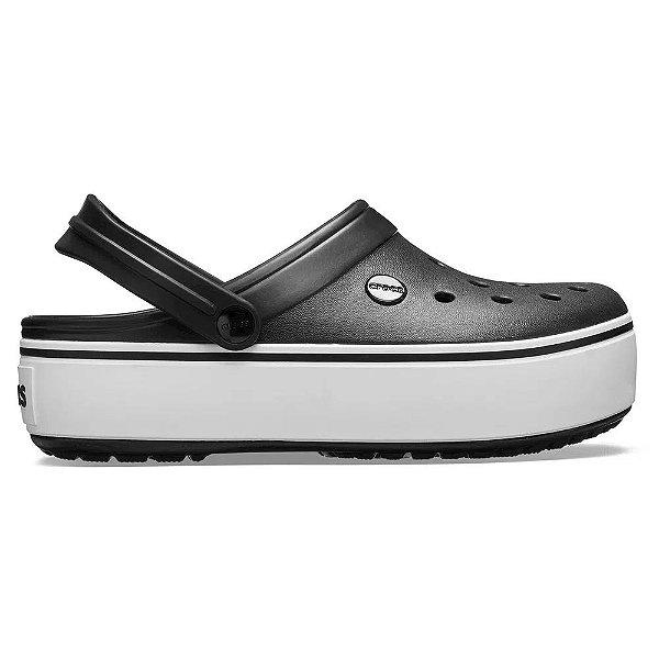 Sandalia Crocs Crocband Platform Black White