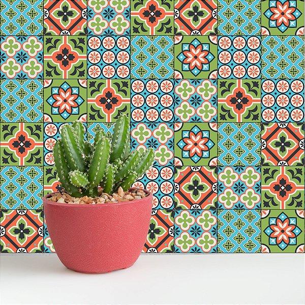 Adesivo de Azulejo Verde Cacto 15x15 cm com 36 un