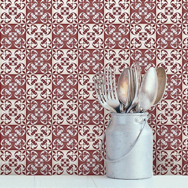 Adesivo de Azulejo Vermelho Cardeal 10x10 cm com 100 un
