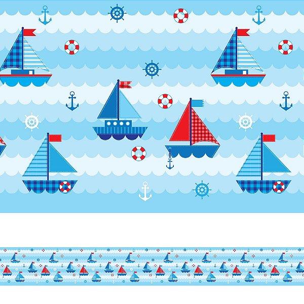Adesivo de Parede Faixa Decorativa Infantil Barco 10m x 10cm