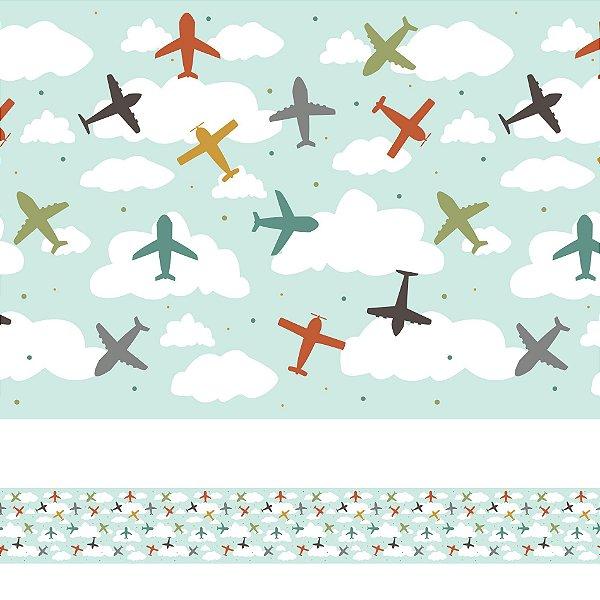 Adesivo de Parede Faixa Decorativa Infantil Aviões Coloridos 10m x 10cm