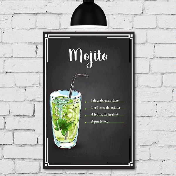 Placa Decorativa MDF Receitas de Drink Mojito