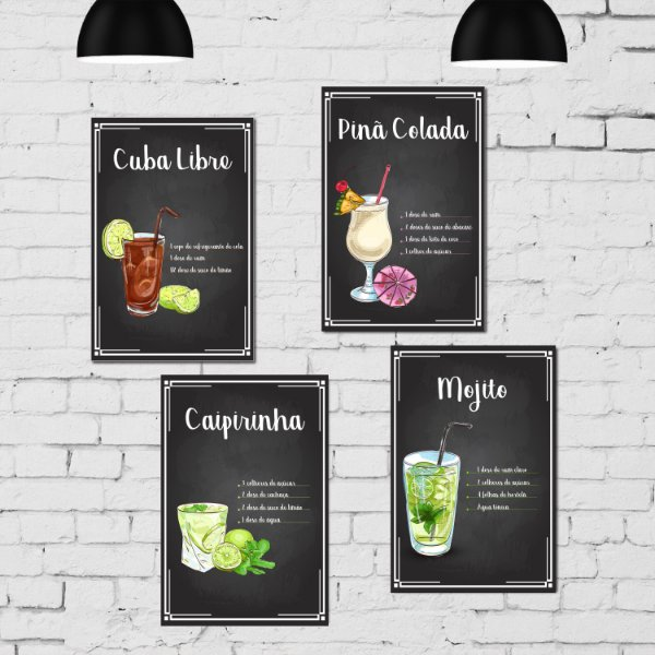 Kit Placa Decorativa MDF Receitas Drinks - 4 unidades