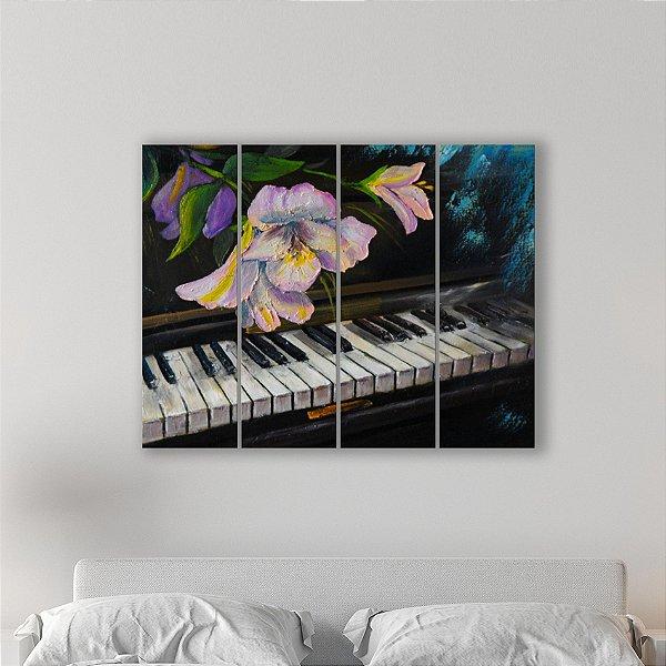 Quadro Decorativo em MDF Pintura Piano e Flor