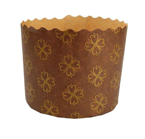 Forma de Panetone Marrom com Dourado 100 Grs. Pcte. c/ 50 UN–R$ 0,34 a Unidade