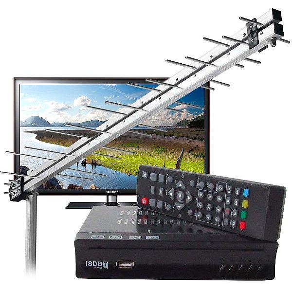 Conversor Digital TV Tubo Led Função Gravador Hdtv ISDB-T-FULL HD + ANTENA