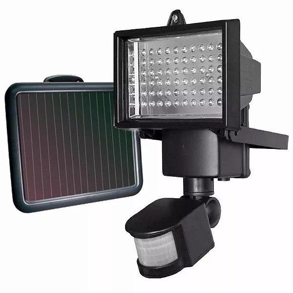 Refletor Luminária Solar De 60 Leds Para Uso Interno e Externa Com Sensor De Movimento