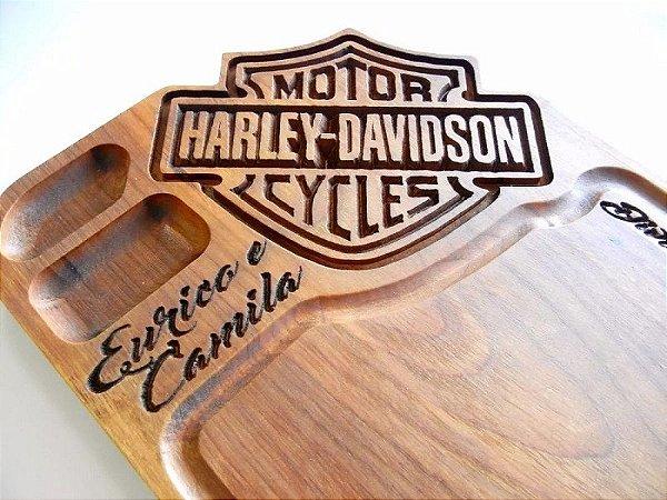 Tabua De Carne De Madeira Harley Davidson 30 x 50 x 3,5 CM Personalizada Nome Gravado