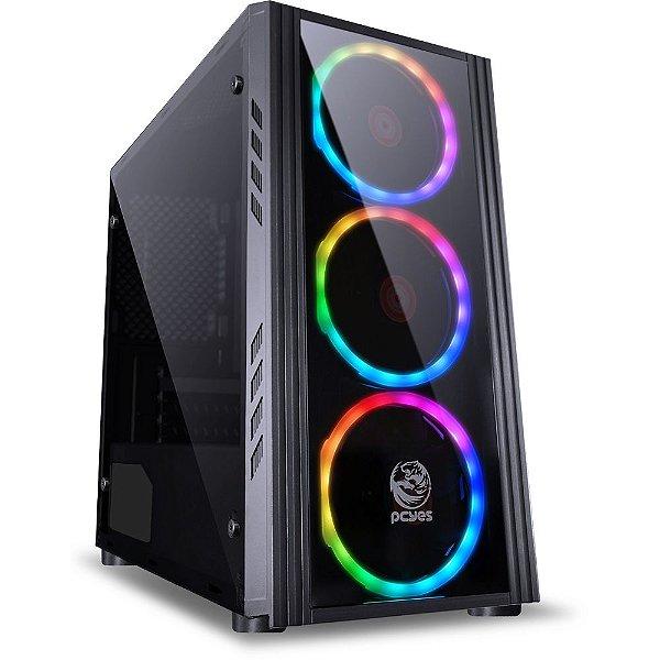 Gabinete Gamer PCYes Saturn sem Fonte, Mid Tower, USB 3.0, 3 Fans LED RGB, Preto com Lateral em Acrílico/Frontal em Vidro - SATPT7C3FCA