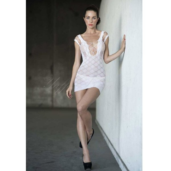 Vestido Branco Curto com Alças e Decote Trançado - Yaffa