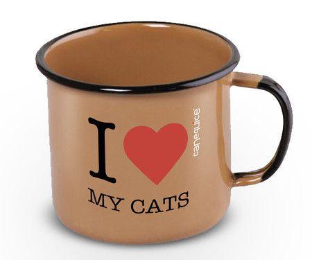 Caneca Esmaltada Love Cats 360ml