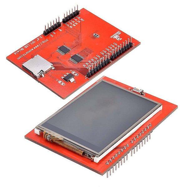 "Display LCD TFT 2.4"" Shield Touchscreen Para Arduino"