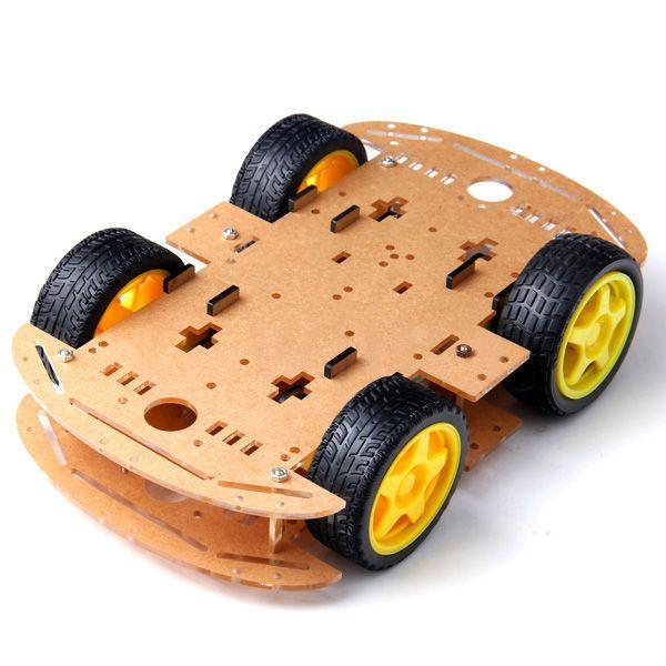 Kit Chassi Duplo 4WD Rodas Robô Para Arduino Diy