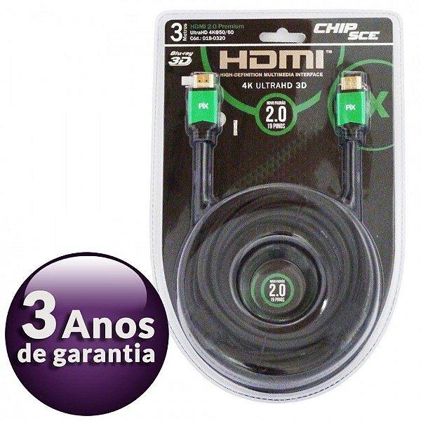 Cabo Hdmi 3 Metros 2.0 4k Ultra Hd 3d 19 Pinos 018-0320