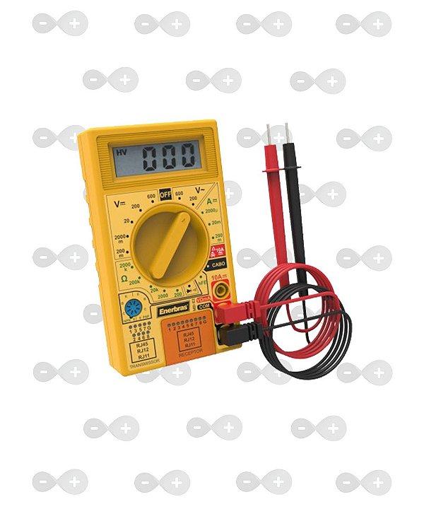 Multímetro Digital Com Testador De Cabos Md-e02 - Enerbras