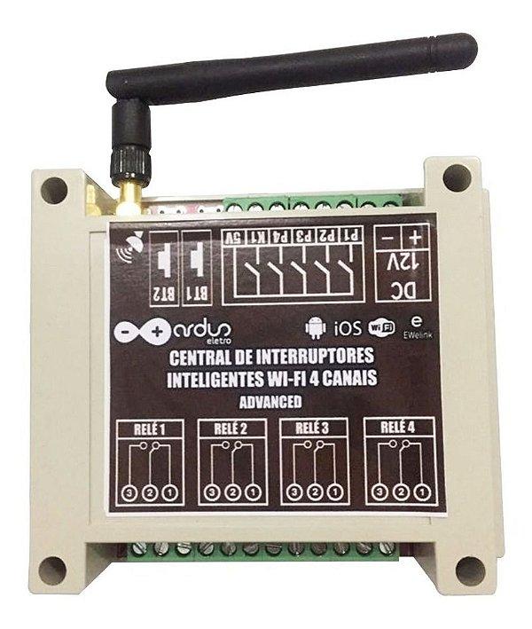 Central Advanced de interruptores Wifi 4 canais com Three-way Automação Residencial