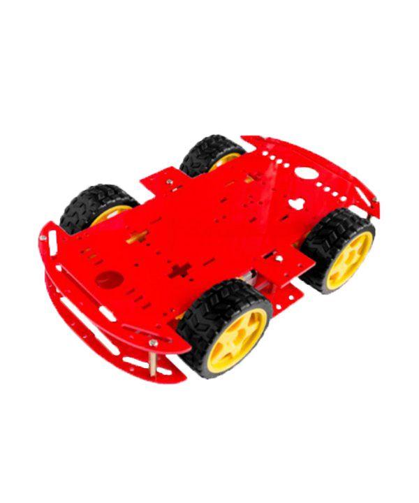 Kit Carro Robô Carrinho 4wd 80rpm Acrílico 3mm Vermelho