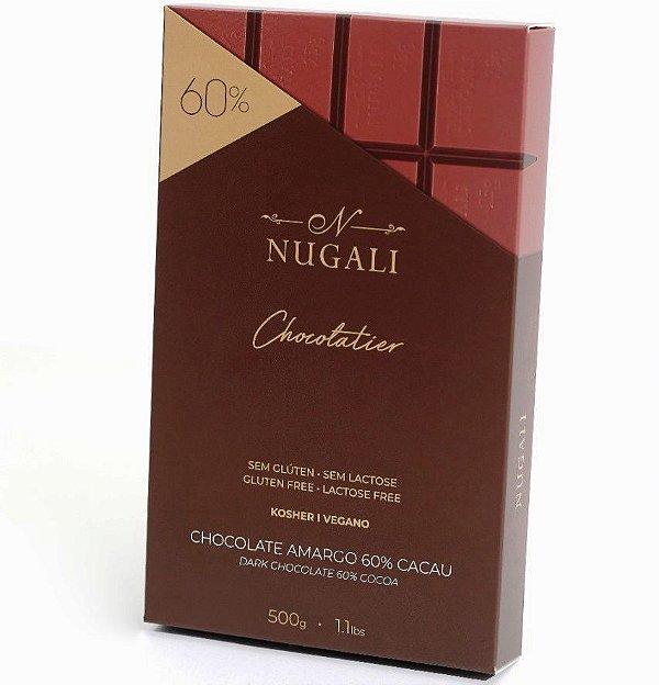 Chocolate Amargo 60% Cacau Nugali Sem Lactose