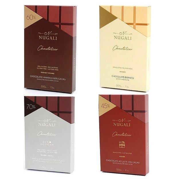 Kit com 4 Barras de Chocolate Nugali 500g Chocolatier