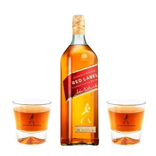 Whisky Johnnie Walker Red Label + 2 Copos
