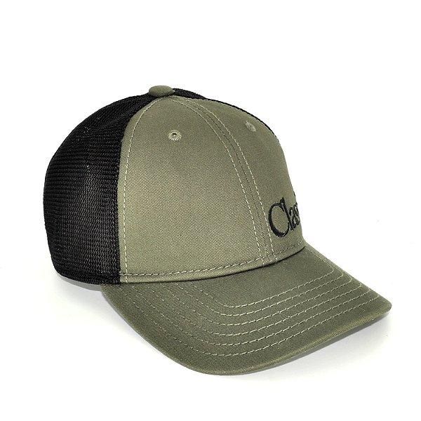 boné verde militar tela preta classic 7556