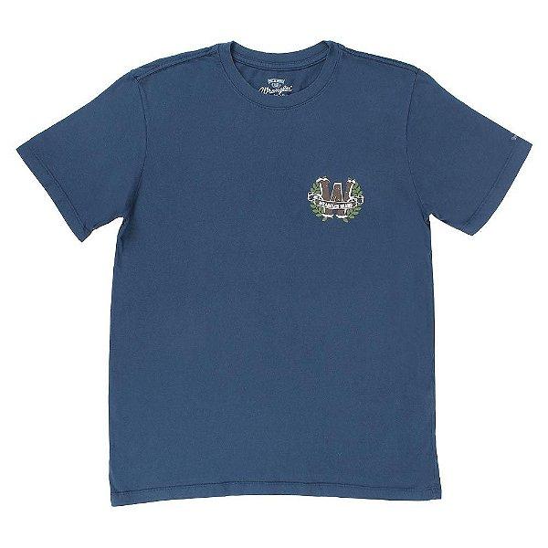camiseta masculina azul 100% algodão - wrangler 507.36.1s.40