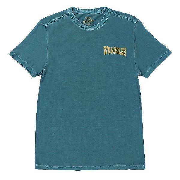 camiseta masculina regular fit verde 100% algodão wrangler g21.83.79.40
