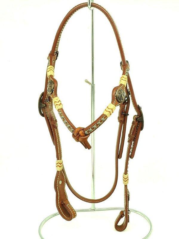 cabeçada com testeira inervo margarida e afogador - indiana ranch 11055