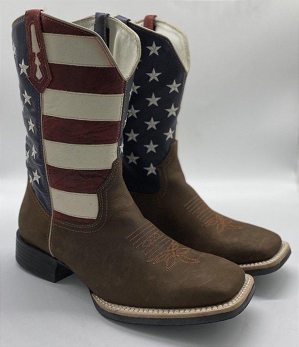 bota masculina bico quadrado cano bandeira usa vimar west country 81138