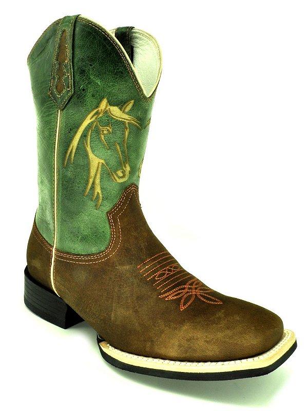 bota masculina bico quadrado cano verde vimar west country 81204
