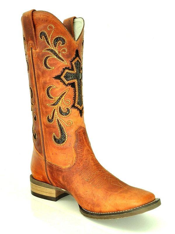 bota feminina bico quadrado cano longo orange goyazes